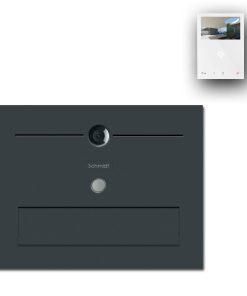 Zaun Zaunbriefkasten Edelstahl Türsprechanlage Video Comelit MiniHF Wifi Wlan Smartphone App Klingeltaster LED Pulverbeschichtung Anthrazit RAL7016