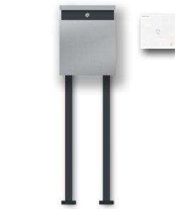 Briefkasten Edelstahl Freistehend Audio Comelit MiniHF Handsfree Türklingel Briefeinwurf RAL7016 Anthrazit Pulverbeschichtung LED