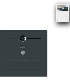 Zaun Zaunbriefkasten Edelstahl Türsprechanlage Video Comelit MiniHF Wifi Wlan Smartphone App Klingeltaster LED RAL7016 Anthrazit Pulverbeschichtung